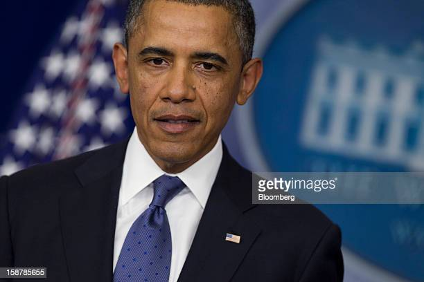 US President Barack Obama speaks in the Brady Press Briefing Room at the White House in Washington DC US on Friday Dec 28 2012 Obama is seeking an...