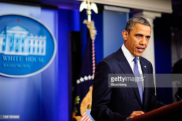 US President Barack Obama speaks in the Brady Press Briefing Room at the White House in Washington DC US on Friday Dec 28 2012 Obama said he's...