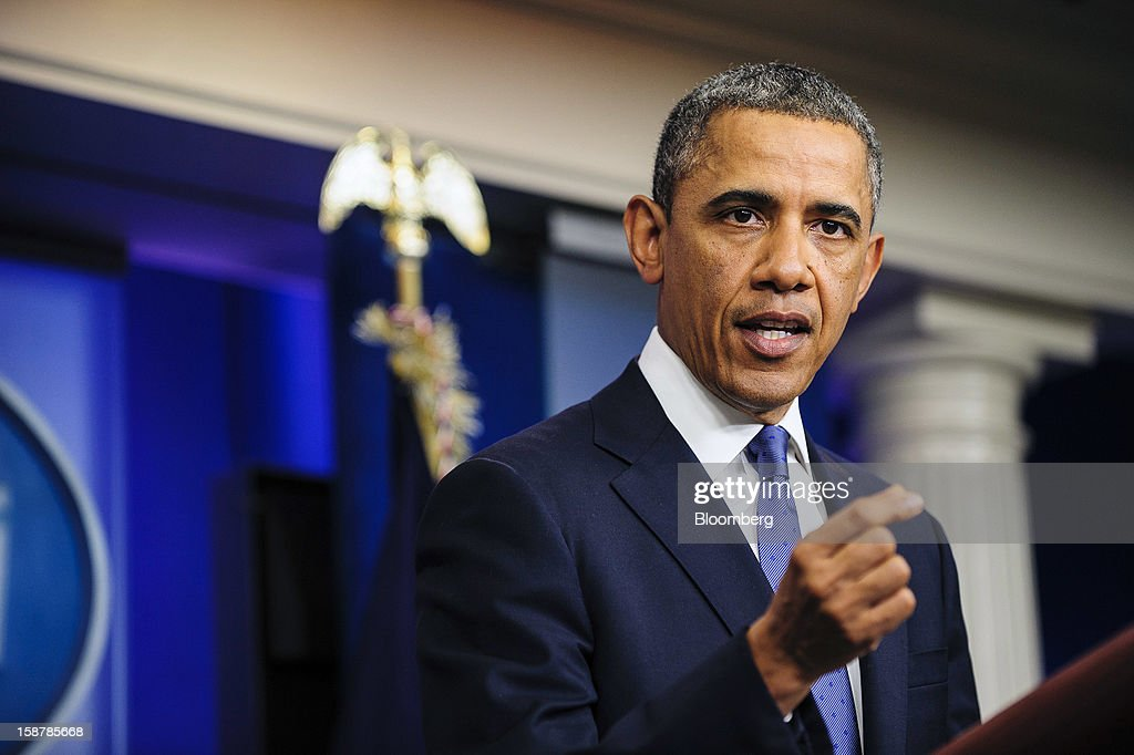 U.S. President Barack Obama speaks in the Brady Press Briefing Room at the White House in Washington, D.C., U.S., on Friday, Dec. 28, 2012. Obama said he's 'modestly optimistic' Congress can pass a bill to avert more than $600 billion in tax increases and spending cuts set to start Jan. 1. Photographer: Pete Marovich/Bloomberg via Getty Images