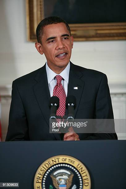 US President Barack Obama speaks in the Diplomatic Reception room of the White House on October 1 2009 in Washington DC Obama spoke on Iran and their...