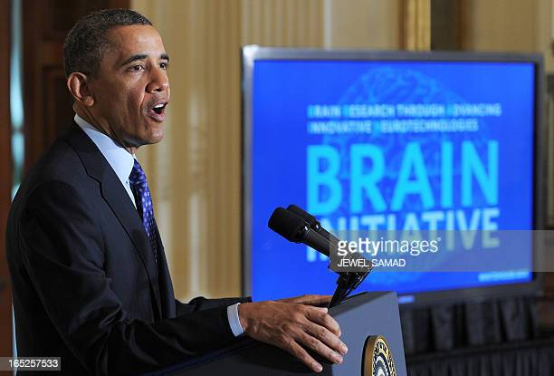 US President Barack Obama speaks in the East Room at the White House in Washington DC on April 2 2013 to announce his Administration's BRAIN Brain...
