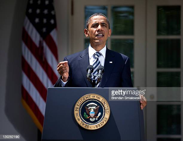 S President Barack Obama speaks in the Rose Garden of the White House August 2 2011 in Washington DC Obama spoke about the US Senate's passing of...