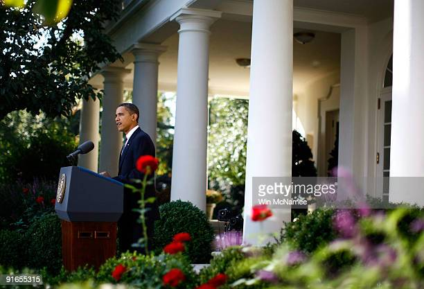 S President Barack Obama speaks in the Rose Garden of the White House on being awarded the 2009 Nobel Peace Prize October 9 2009 in Washington DC The...