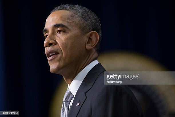 US President Barack Obama speaks in the South Court Auditorium of the Eisenhower Executive Building next to the White House in Washington DC US on...