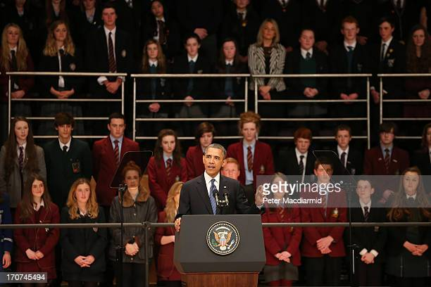 President Barack Obama speaks in the Waterfront Hall on June 17 2013 in Belfast Northern Ireland Later The President will join other leaders at the...
