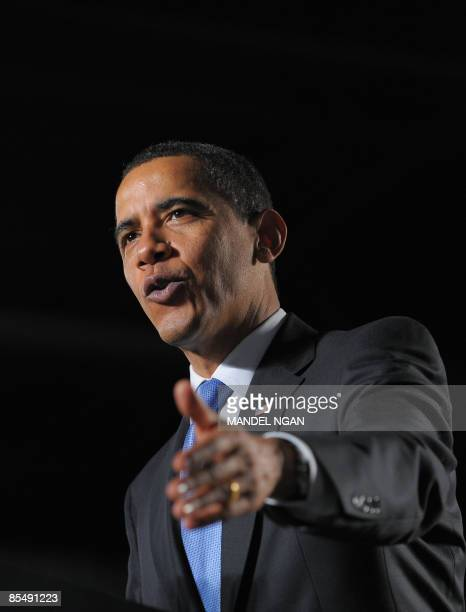 US President Barack Obama speaks March 18 2009 during a town hall meeting at the Orange County Fair and Event Center in Costa Mesa California Obama...