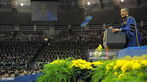 US President Barack Obama speaks May 17 2009 during the commencement ceremony in the Joyce Center of Notre Dame University in South Bend Indiana...
