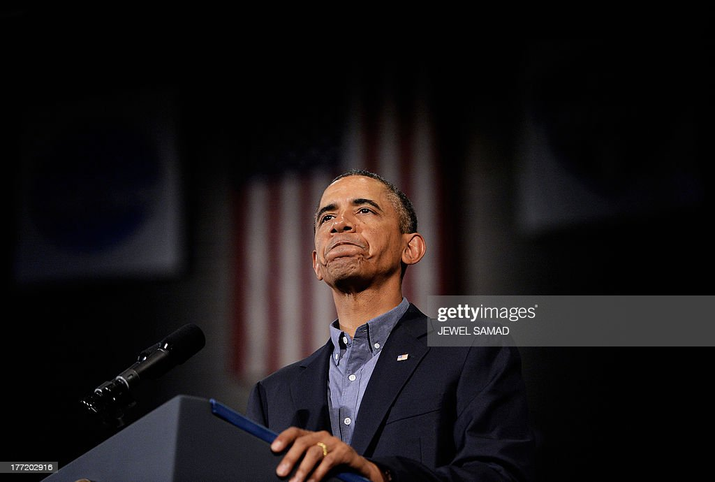 US President Barack Obama speaks on education at University of Buffalo, the State University of New York, on August 22, 2013 in Buffalo, New York