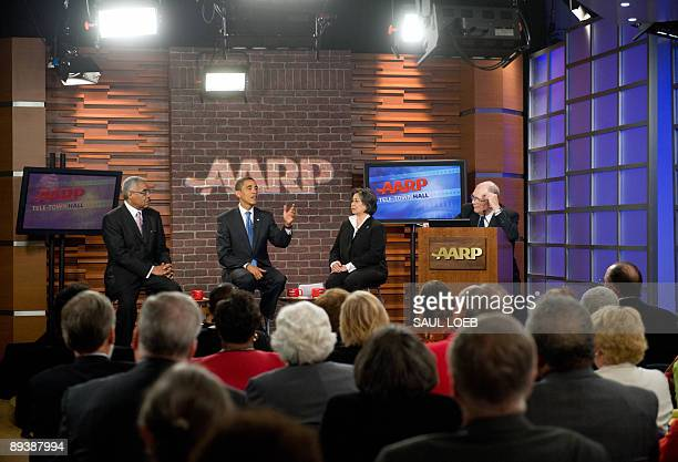US President Barack Obama speaks on healthcare during a telephone internet and inperson town hall meeting at AARP headquarters in Washington DC July...