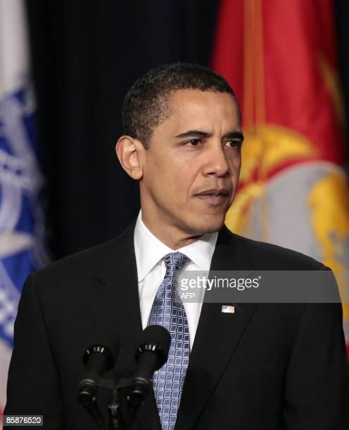 President Barack Obama speaks on improving veterans health care at the Eisenhower Executive Office Building in Washington DC, April 09, 2009. AFP...