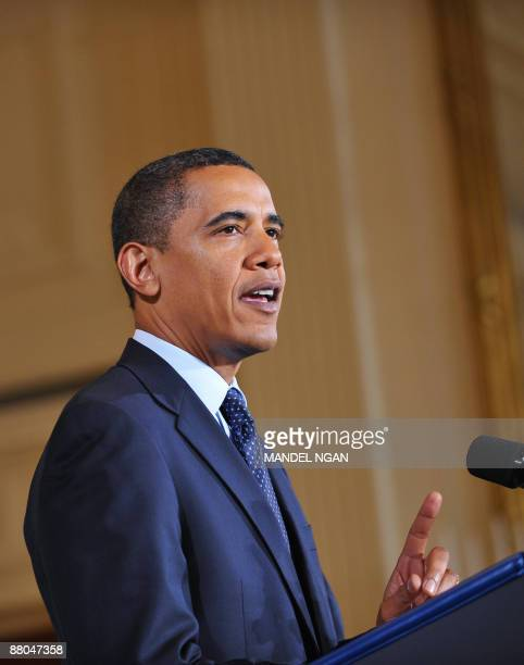 President Barack Obama speaks on securing cyber infrastructure May 29, 2009 in the East Room of the White House in Washington, DC. Plans to...