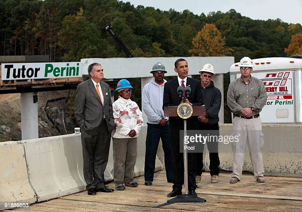 US President Barack Obama speaks on the economic benefits of the Recovery Act after a tour of the Fairfax County Parkway Extension project as...