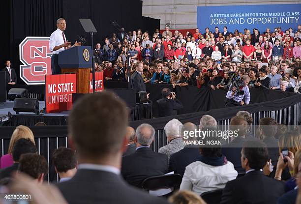 US President Barack Obama speaks on the economy at North Carolina State University in Raleigh North Carolina on January 15 2014 AFP PHOTO/Mandel NGAN