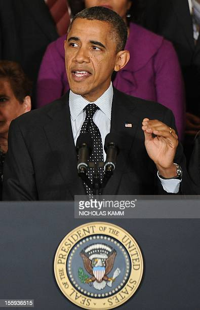 President Barack Obama speaks on the economy in the East Room of the White House in Washington,DC on November 9, 2012. Obama made his first...