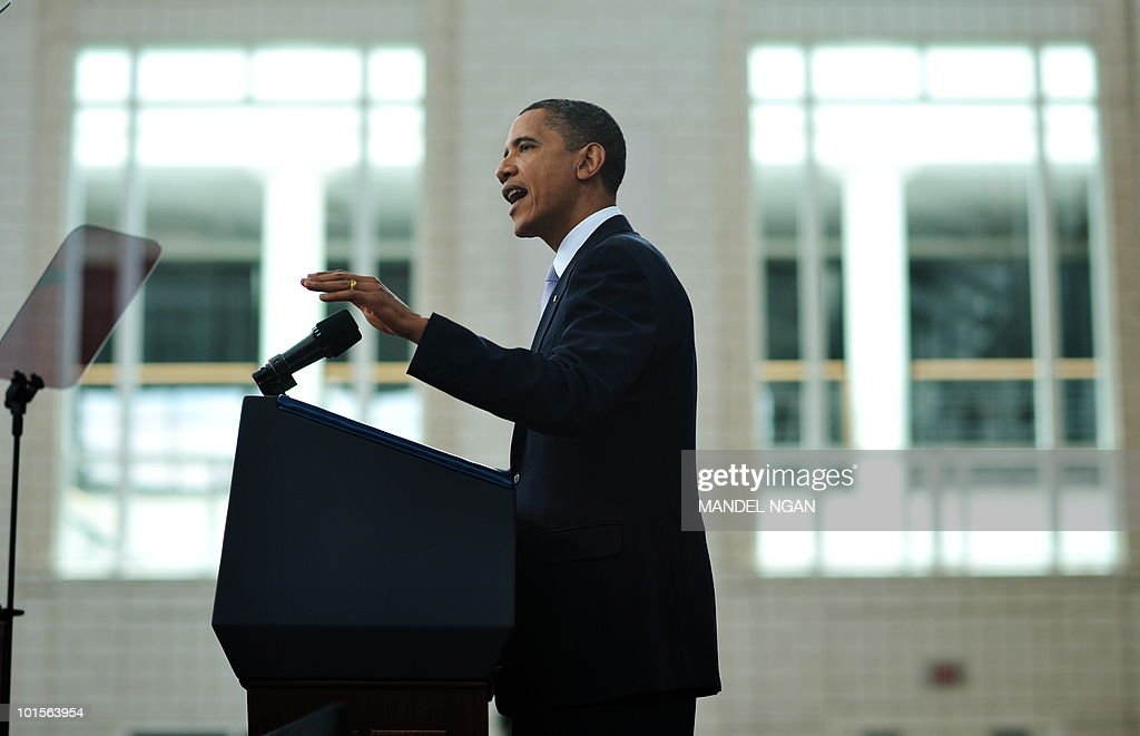 US President Barack Obama speaks on the economy June 2, 2010 at Carnegie Mellon University in Pittsburgh, Pennsylvania. President Obama sought Wednesday to briefly divert attention from US oil disaster to his efforts to rescue the economy, predicting a report showing 'strong' jobs growth in May. Obama said, a regenerating city that was hit by the decline of the steel industry, that solving the crisis in the Gulf of Mexico was the 'top priority' of his administration. AFP PHOTO/Mandel NGAN