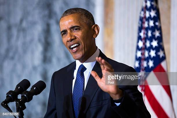 US President Barack Obama speaks on the Orlando shooting at the Treasury Department after convening with his National Security Council on June 14...