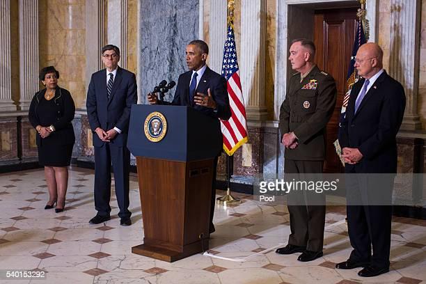 US President Barack Obama speaks on the Orlando shooting at the Treasury Department while Attorney General Loretta Lynch Treasury Secretary Jack Lew...
