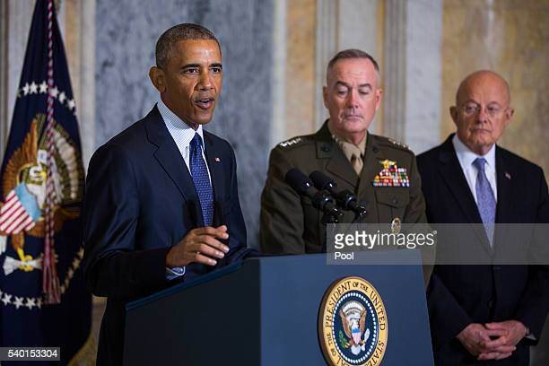 US President Barack Obama speaks on the Orlando shooting at the Treasury Department while Chairman of the Joint Chiefs of Staff General Joseph...
