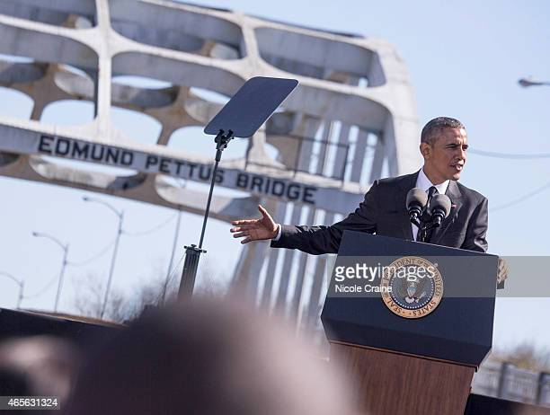 S President Barack Obama speaks onstage at 50th Anniversary Of Selma March For African American Voting Rights on March 7 2015 in Selma Alabama