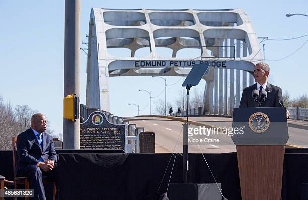 S President Barack Obama speaks onstage next to US Rep John Lewis at 50th Anniversary Of Selma March For African American Voting Rights on March 7...