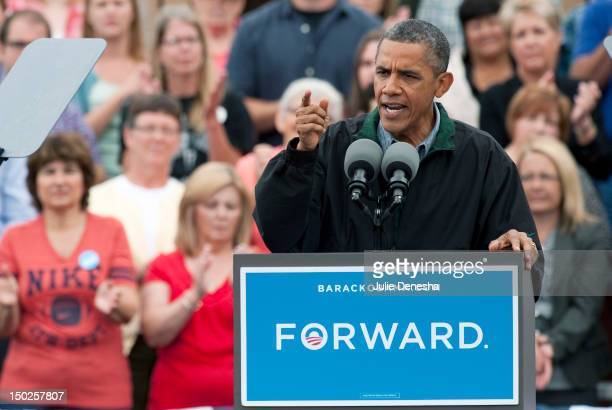 S President Barack Obama speaks speaks during a campaign stop at Bayliss Park August 13 2012 in Council Bluffs Iowa Obama announced an emergency...