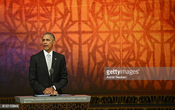 S President Barack Obama speaks the dedication of the National Museum of African American History and Culture September 24 2016 in Washington DC...