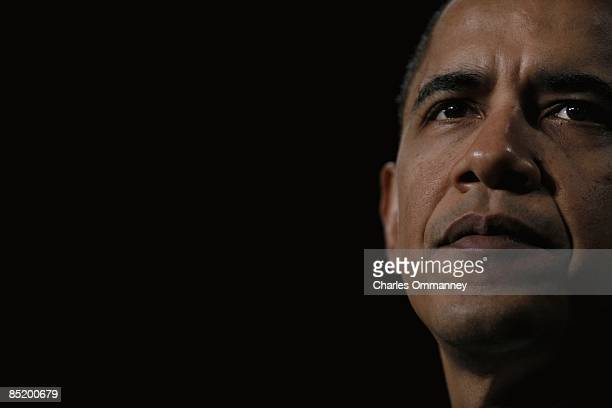 President Barack Obama speaks to a crowd at Dobson High School on February 18, 2009 in Mesa, Arizona. Obama spoke about his $75 billion mortgage...