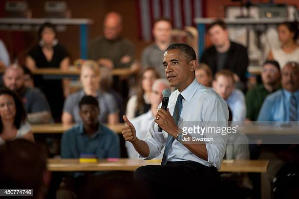 S President Barack Obama speaks to a crowd at TechShop Pittsburgh about technology innovation and entrepreneurship in manufacturing Tuesday June 17...