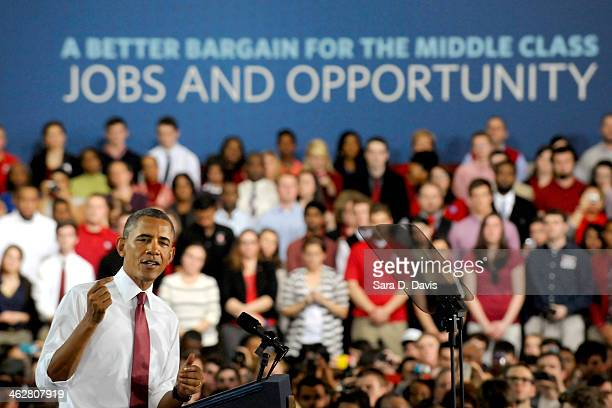 S President Barack Obama speaks to a crowd at the JW Isenhour Tennis Center on the campus of North Carolina State University on January 15 2014 in...