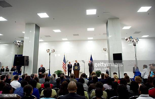 US President Barack Obama speaks to CIA employees during a visit to the Central Intelligence Agency headquarters in Langley Virginia on April 20 2009...