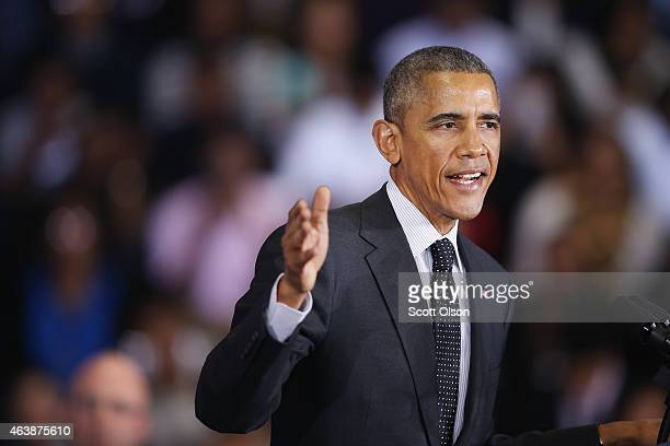 President Barack Obama speaks to guests at the Gwendolyn Brooks College Preparatory Academy on February 19 2015 in Chicago Illinois Obama used the...