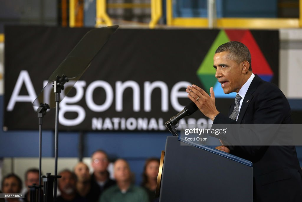 President Barack Obama speaks to guests during a visit to Argonne National Laboratory on March 15, 2013 in Argonne, Illinois. Obama used the event to push for more federally funded research into clean energy technologies. Argonne is the current home of a $120 million federal project to develop smaller, cheaper and more powerful batteries for electric vehicles.