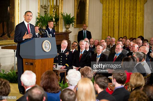 US President Barack Obama speaks to guests in the East room of the White House prior to awarding Specialist Leslie H Sabo Jr US Army the Medal of...