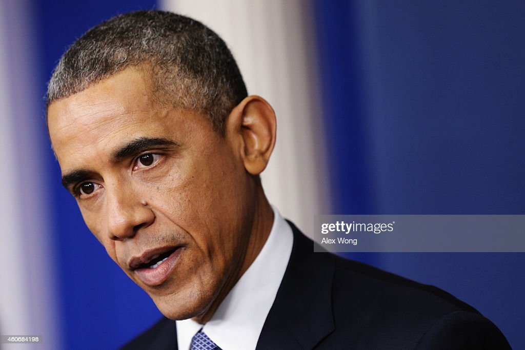 U.S. President Barack Obama speaks to members of the media during his last news conference of the year in the James Brady Press Briefing Room of the White House December 19, 2014 in Washington, DC. President Obama faced questions on various topics including the U.S. economy, the Affordable Care Act and the Sony hack.