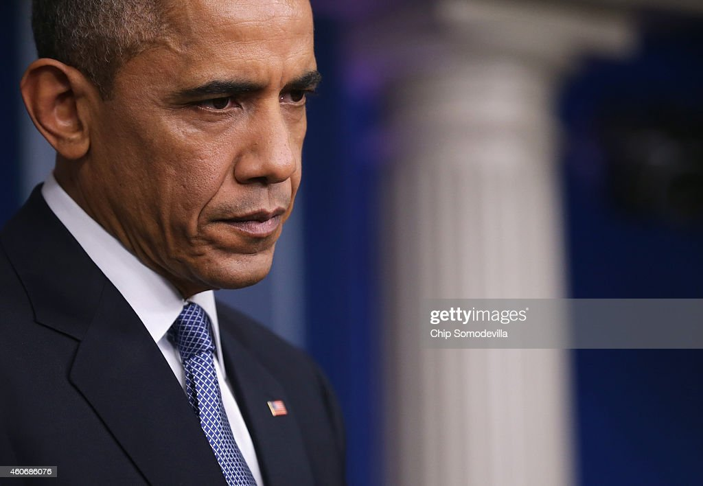 U.S. President Barack Obama speaks to members of the media during his last news conference of the year in the James Brady Press Briefing Room of the White House December 19, 2014 in Washington, DC.