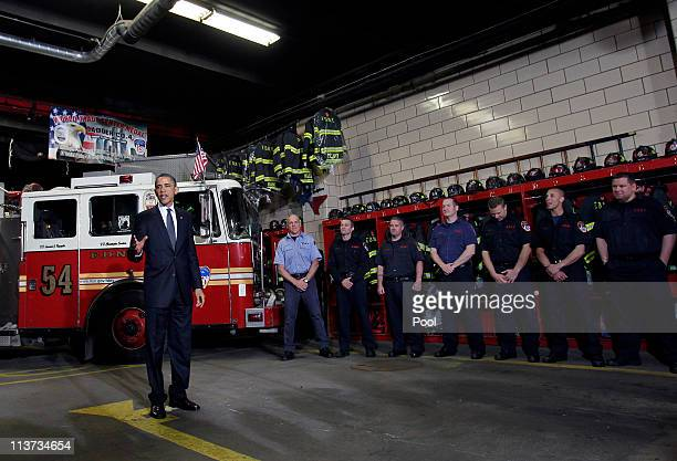 President Barack Obama speaks to members of the New York City Fire Department at the Engine 54 firehouse on May 5, 2011 in New York City. The engine...