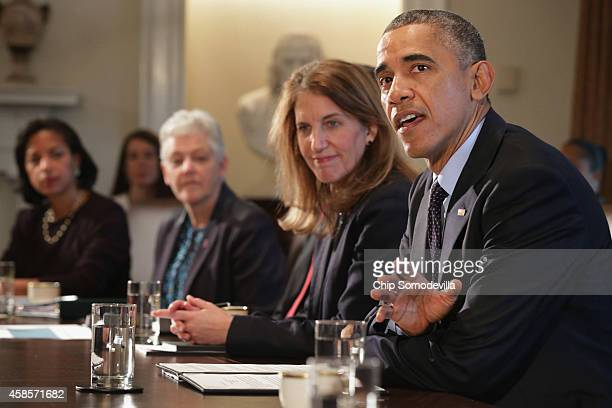 S President Barack Obama speaks to members of the news media before a meeting with National Security Advisor Susan Rice Environmental Protection...