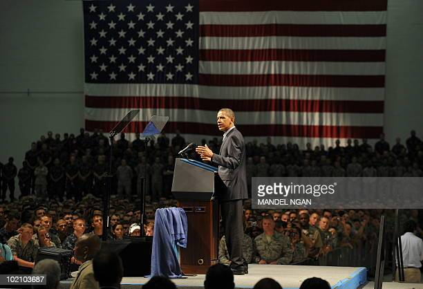 US President Barack Obama speaks to military personnel at the Naval Air Technical Training Center of the Pensacola Naval Air Station on June 15 2010...