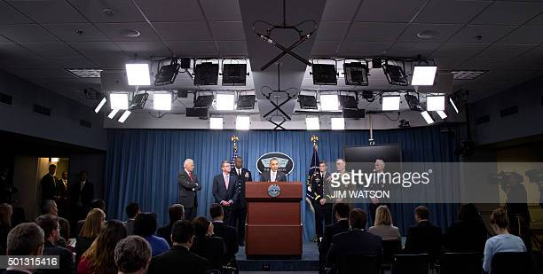 US President Barack Obama speaks to reporters following a National Security Council meeting on the counterISIL at the Pentagon in Washington DC...