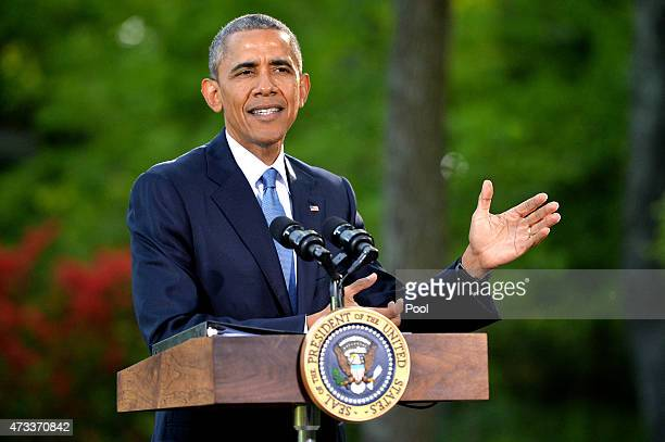 S President Barack Obama speaks to reporters following the Gulf Cooperation CouncilUS summit on May 14 2015 at Camp David Maryland Obama hosted...