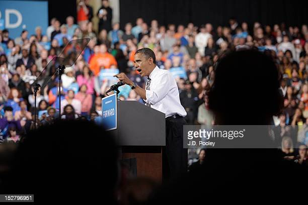 S President Barack Obama speaks to supporters at the Stroh Center on September 26 2012 in Bowling Green Ohio Six days before early voting starts in...