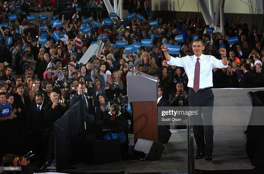 U.S. President Barack Obama speaks to supporters during a campaign rally on September 22, 2012 in Milwaukee, Wisconsin. In addition to the rally, Obama attended two fundraising events during his visit to Milwaukee.