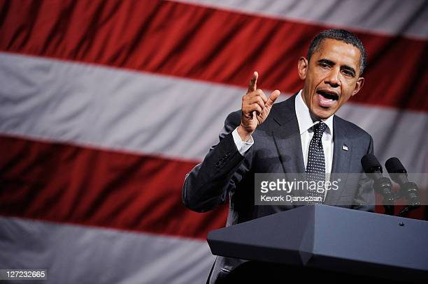 S President Barack Obama speaks to supporters during a fundraiser for his reelection campaign at the House of Blues on the Sunset Strip on September...