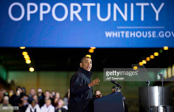 US President Barack Obama speaks to supporters local politicans and steelworkers at the USX Irvin Works January 29 2014 in West Mifflin Pennsylvania...