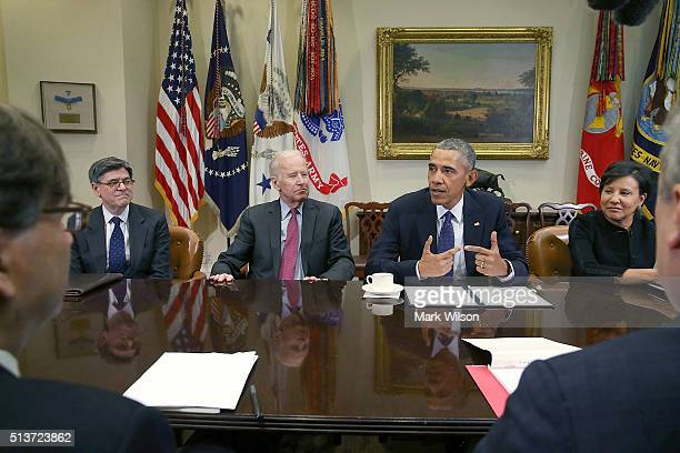 S President Barack Obama speaks to the media about the economy after meeting with his economic team in the Roosevelt Room at the White House March 4...