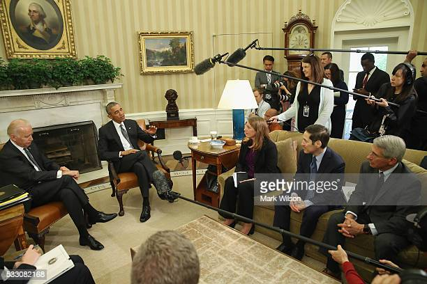S President Barack Obama speaks to the media about the Zika virus accompanied by US Vice President Joseph Biden Sylvia M Burwell Health and Human...