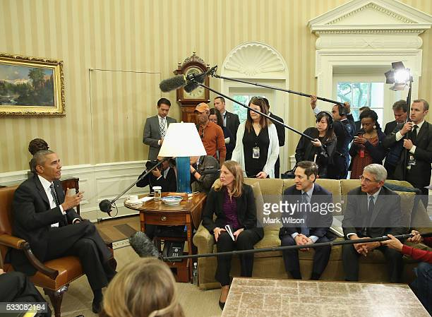 S President Barack Obama speaks to the media about the Zika virus accompanied by Sylvia M Burwell Health and Human Services Secretary Thomas R...