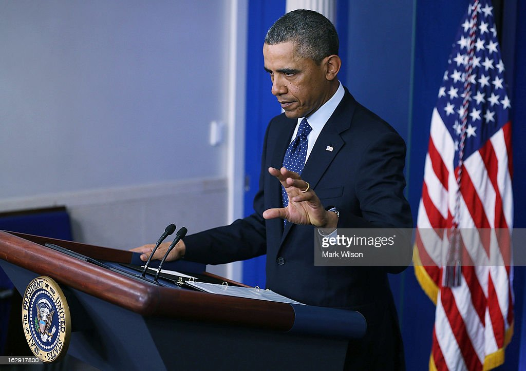 U.S. President Barack Obama speaks to the media after meeting with Congressional leaders at the White House, March 1, 2013 in Washington, DC. President Obama said that no agreement was reached with Republicans to avoid the sequester that will trigger automatic domestic and defense cuts.