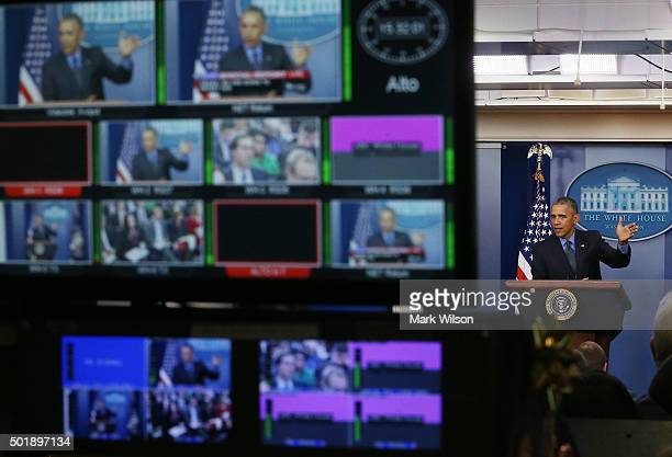 President Barack Obama speaks to the media at his year end press conference in the Brady Briefing Room at the White House December 18 2015 in...