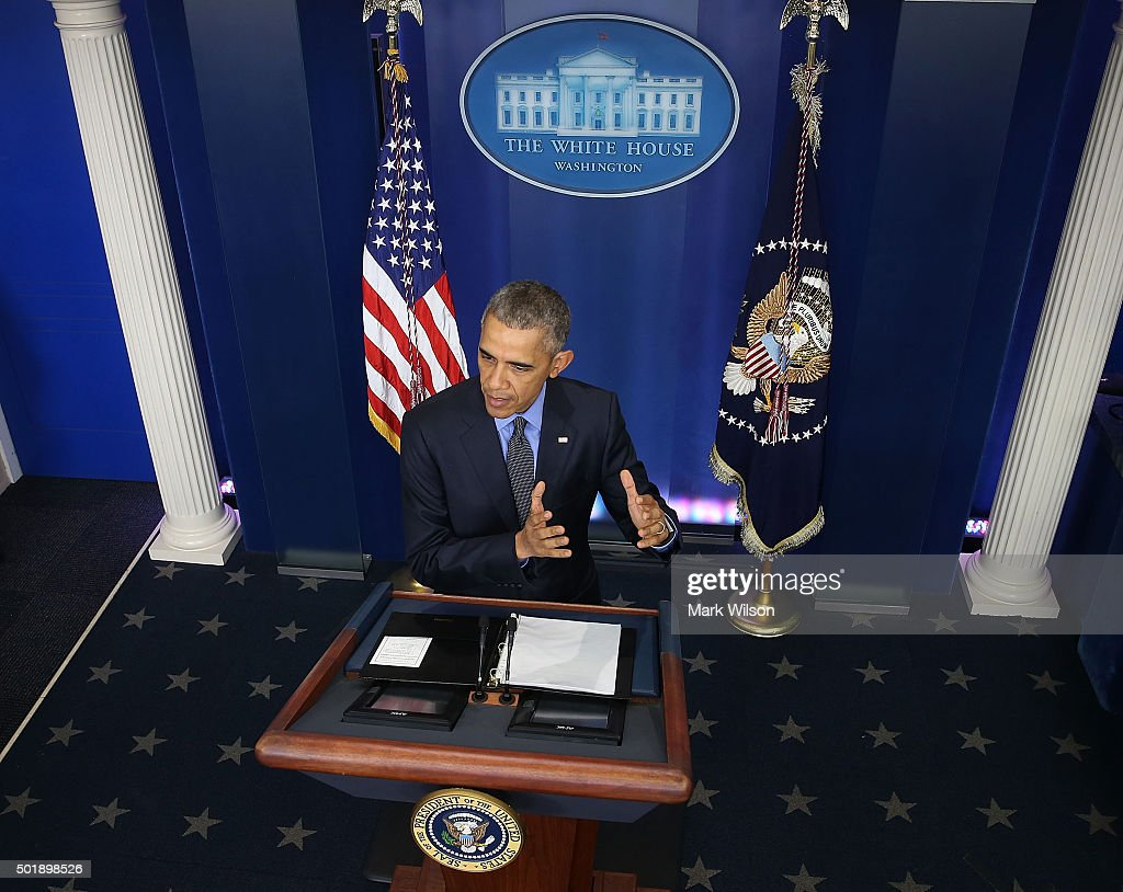 US President Barack Obama speaks to the media at his year end press conference in the Brady Briefing Room at the White House December 18, 2015 in Washington, DC. Later today President Obama will travel to San Bernardino, California, to meet with families of the 14 victims of the recent mass shooting, before heading to Hawaii for Christmas vacation and return on January 3, 2016.